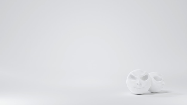 Okrągła biała czaszka głowa ozdobiona na białym tle rogu, tło halloween, ilustracja 3d