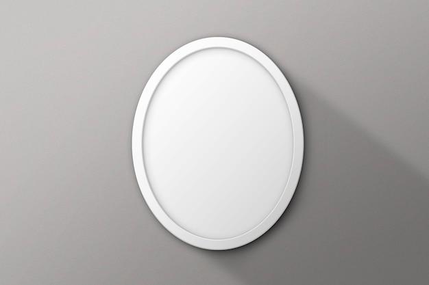 Okrągła biała ramka na szarej powierzchni