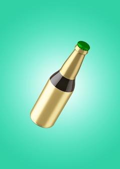 Okrągła butelka z pustą złotą etykietą na białym tle. koncepcja fiesty piwa.