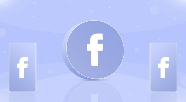 Okrągła ikona facebook z dwoma telefonami z logo facebook na ekranach 3d