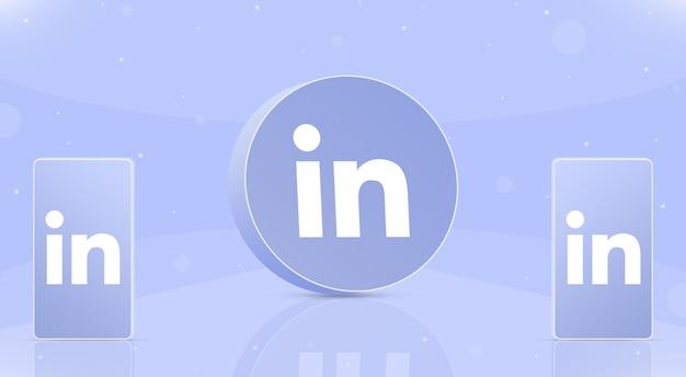 Okrągła ikona linkedin z dwoma telefonami z logo linkedin na ekranach 3d