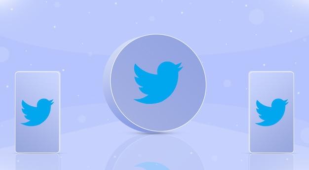 Okrągła ikona twittera z dwoma telefonami z logo twittera na ekranach 3d