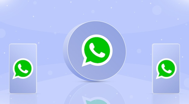 Okrągła ikona whatsapp z dwoma telefonami z logo whatsapp na ekranach 3d