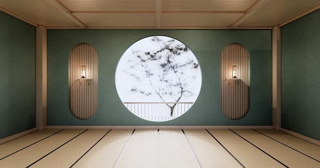 Okrągła półka ścienna, miętowy pusty pokój japoński projekt, podłoga z mat tatami. renderowanie 3d