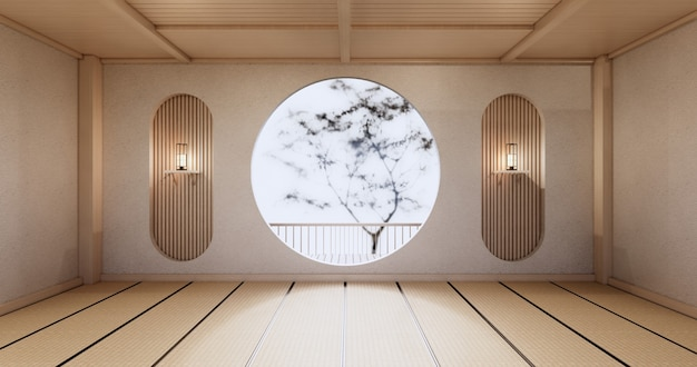 Okrągła półka ścienna na pustym salonie japoński projekt z matą tatami podłogową. renderowanie 3d