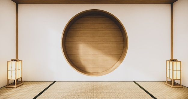 Okrągła półka ścienna na pustym salonie w stylu japońskim