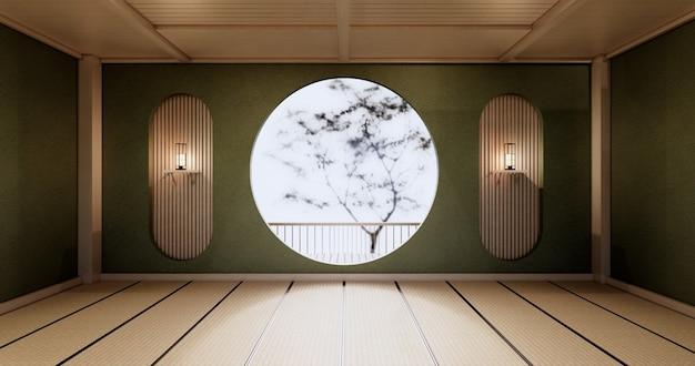Okrągła półka ścienna, zielony pusty pokój japoński projekt, podłoga z maty tatami. renderowanie 3d