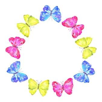 Okrągła rama. kolorowe motyle: żółte, różowe, niebieskie. styl akwareli. odosobniony