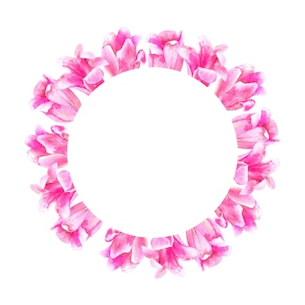 Okrągła rama kwiatowy. różowe tulipany. ręcznie rysowane akwarela ilustracja. odosobniony.