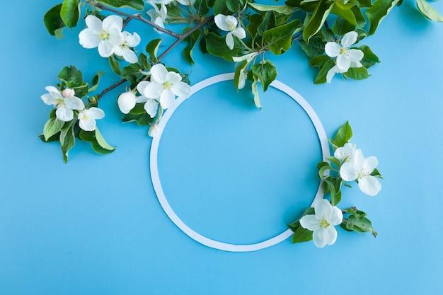 Okrągła rama z kwiat jabłoni na niebieskim tle