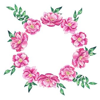 Okrągła ramka w kwiaty z pięknymi różowymi kwiatami. akwarele ręcznie rysowane ilustracji. odosobniony.