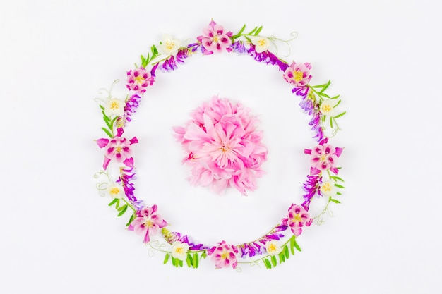 Okrągła ramka z różowych kwiatów orlików i różowej piwonii