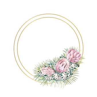Okrągła złota ramka z kwiatami protea, tropikalnymi liśćmi, liśćmi palm, kwiatami bouvardii