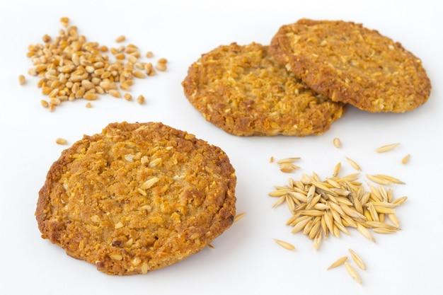 Okrągłe ciasteczka pszenne i owsiane