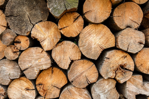 Okrągłe drewno opałowe ułożone na stosie drewna. tło drewna i tekstura.