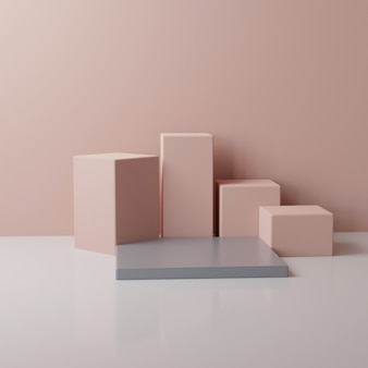 Okrągłe i prostokątne beżowe i różowe podium, renderowanie 3d