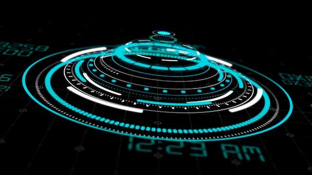Okrągłe interfejsy hologram hud, zaawansowany technologicznie futurystyczny wyświetlacz przycisków