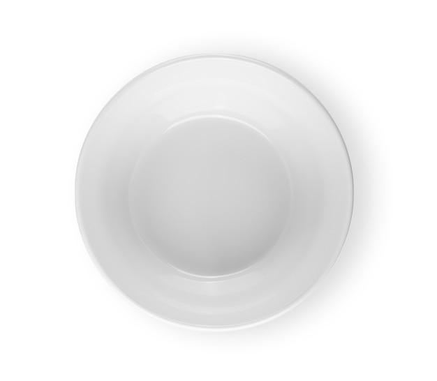 Okrągłe naczynie widok z góry na białym tle