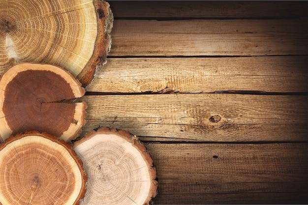Okrągłe plastry drewna, izolowane