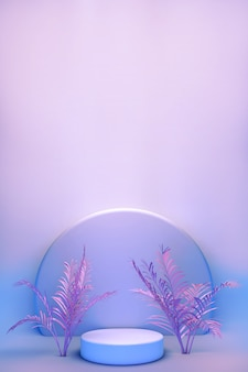 Okrągłe podium, stań na pastelowym tle niebieskiej ściany z różowymi tropikalnymi palmami. prezentacja produktów kosmetycznych.