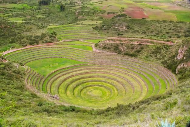Okrągłe tarasy rolnicze inków w sacred valley, moray, sacred valley, peru, ameryka południowa