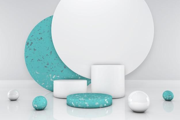 Okrągłe zielone podium, stojak, studio na białym tle. prezentacja produktów
