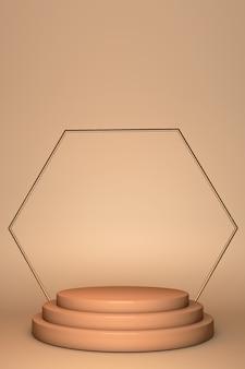 Okrągły kształt cylindra na beżowym tle. minimalistyczna podstawka i geometryczne podium. pusta gablota do prezentacji produktów kosmetycznych