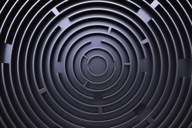 Okrągły labirynt. widok z góry. czarny styl.