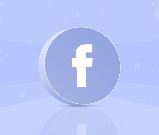 Okrągły przycisk z ikoną logo facebook 3d