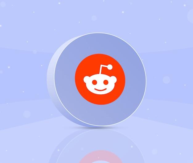 Okrągły przycisk z ikoną logo reddit 3d
