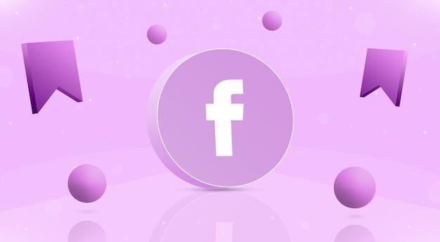 Okrągły Przycisk Z Kulkami Z Logo Facebooka I Ikoną Zapisu Wokół 3d Premium Zdjęcia