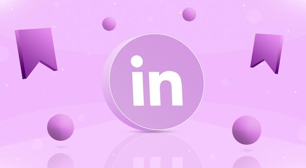 Okrągły przycisk z kulkami z logo linkedin i ikoną zapisu wokół 3d