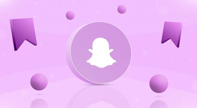 Okrągły Przycisk Z Kulkami Z Logo Snapchat I Ikoną Zapisu Wokół 3d Premium Zdjęcia