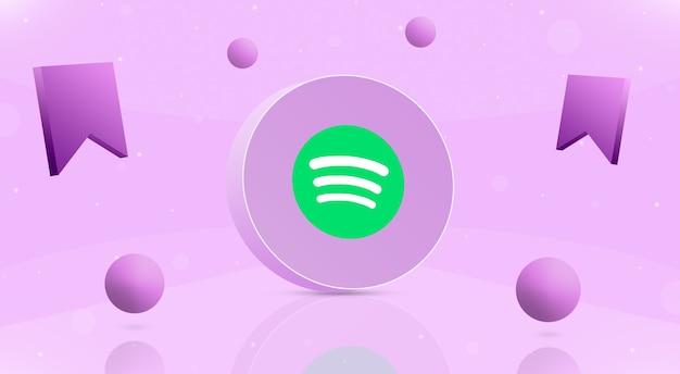 Okrągły przycisk z kulkami z logo spotify i ikoną zapisu wokół 3d