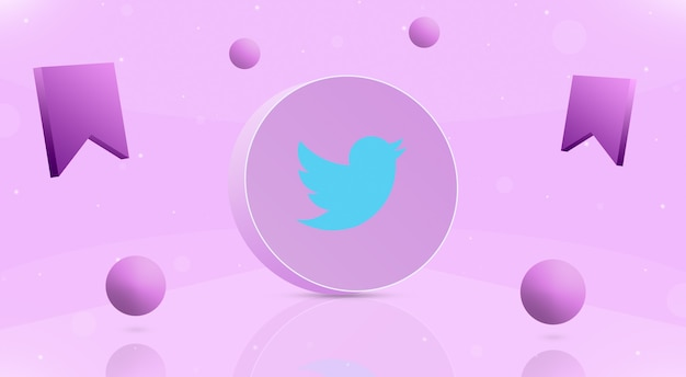 Okrągły przycisk z kulkami z logo twittera i ikoną zapisu wokół 3d