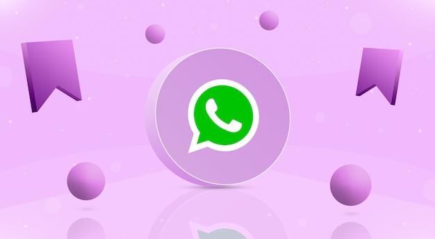 Okrągły przycisk z kulkami z logo whatsapp i ikoną zapisu wokół 3d
