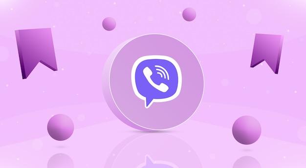 Okrągły przycisk z kulkami z logo wibracji i ikoną zapisu wokół 3d