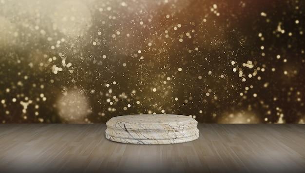 Okrągły stojak z kamienia okrągła marmurowa podstawa na drewnianej podłodze do ekspozycji produktów, pokaz produktów, złote tło bokeh.