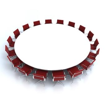 Okrągły stół konferencyjny otoczony krzesłami