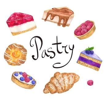 Okrągły szablon ramki z pysznymi deserami dla cukierni. ręcznie rysowane akwarela ilustracja. na białym tle na białej ścianie.