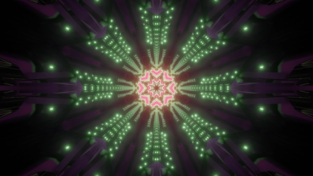 Okrągły tunel z abstrakcyjnym ornamentem 3d ilustracji