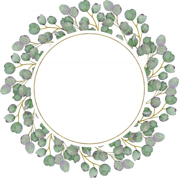 Okrągły wieniec eukaliptusowy rustykalny na białej ścianie. akwarela ilustracja.