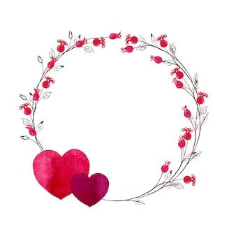 Okrągły wieniec na walentynki prostych czerwonych róż mini na łodygach z parą serc. akwarela ilustracja