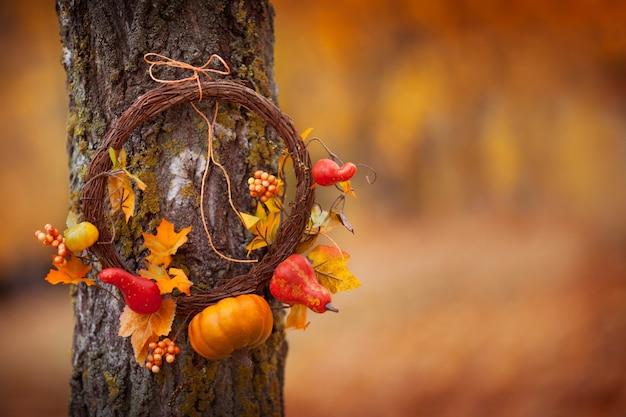 Okrągły wieniec z naturalnym drzewem na tle upadku. słoneczny jesienny dzień, światło dzienne. copyspace