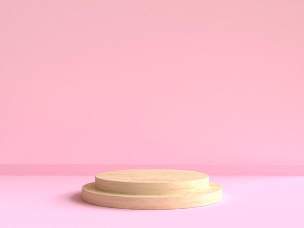 Okrąża drewniane podium minimalne różowe ściany sceny renderowania 3d
