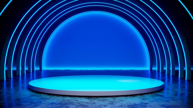 Okrąża scenę z neonowego światła blackground i betonową podłoga, błękita światło, 3d odpłaca się