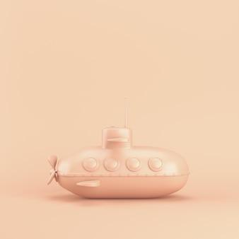 Okręt podwodny w stylu kreskówki na różowym pastelowym z miejsca na kopię. renderowanie 3d