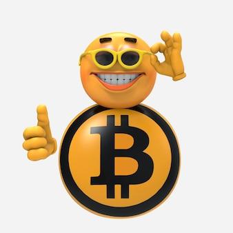 Okulary bitcoin. ilustracja 3d
