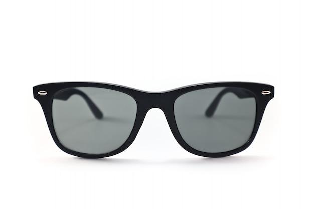 Okulary ochronne uv w kształcie koła i ciemnego koloru soczewek