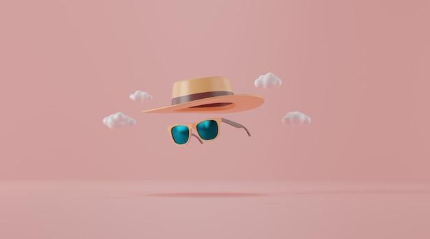 Okulary przeciwsłoneczne z kapeluszem na różowo. koncepcja podróży.